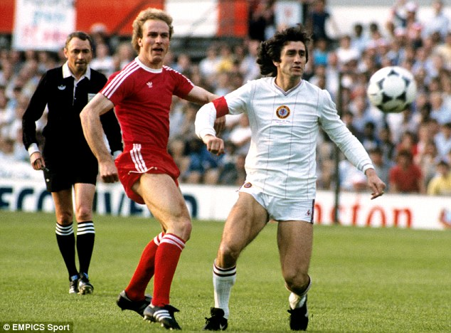 Legend: Rummenigge, pictured against Aston Villa's Dennis Mortimer, spent a decade playing for Bayern