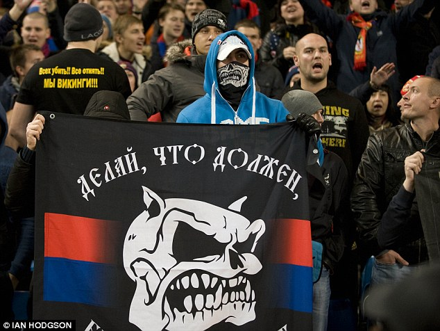 Ban: CSKA Moscow will play their next European game behind closed doors - pictured are the club's fans at the Etihad Stadium earlier this season