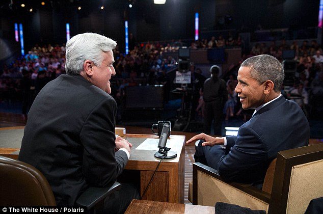 Jay Leno, seen here during his August 2013 taping with Barack Obama, totalled 14.64 million viewers overall when his final Tonight show went to air on February 16
