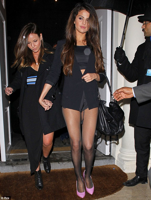 Girl's night out: The 21-year-old actress and singer was seen leaving Sketch Restaurant in London with a friend on Monday night