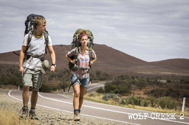 In Wolf Creek 2, backpackers Rutger (Philippe Klaus) and Katarina (Shannon Ashlyn) set off on their outback adventure, which turns into a nightmare when they meet a killer on a lonely road