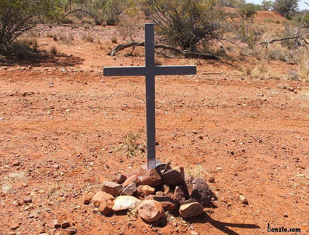 An unmarked cross and stone cairn mark the site near where Peter Falconio was murdered in July, 2001, his body later disposed of by Bradley Murdoch, but never found