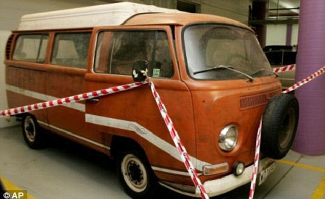 This is the real orange Kombi van in which Joanne Lees and Peter Falconio were travelling when they were tricked into stopping by a man, who lured Falconio on the premise of 'engine trouble' to the rear of the vehicle. Lees heard a shot and was then tied up, but she escaped while Bradley Murdoch was moving Falconio's body