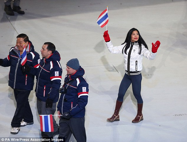 Proud accomplishment: Violinist and Thailand skier Vanessa-Mae during the Olympic Ceremony in Sochi
