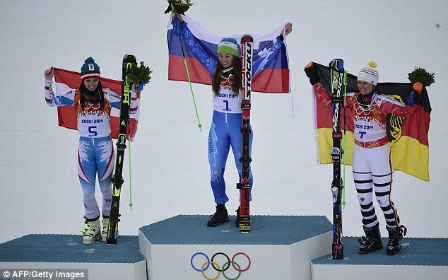 Winners: Tina Maze won gold in the Giant Slalom ahead of Anna Fenninger and Viktoria Rebensburg