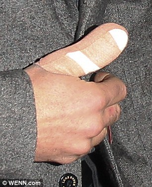 All wrapped up: Ant was seen on Monday evening with his finger in a bandage