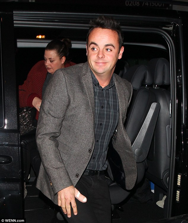 Ouch: Ant McPartlin sliced off the top of his thumb during an accident with a potato cutter