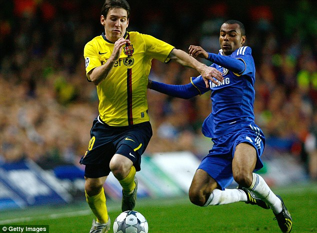He beats Cole but there's no goal: Messi again failed to score during a 1-1 draw against Chelsea in the 2009 semi-final