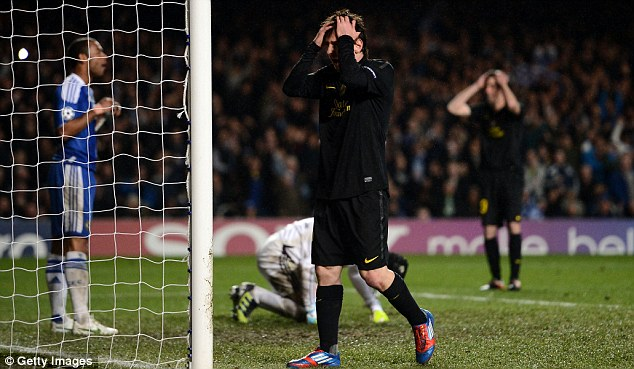 Drought: In 12 hours of football at English top-flight grounds, Lionel Messi has never scored a goal for Barcelona
