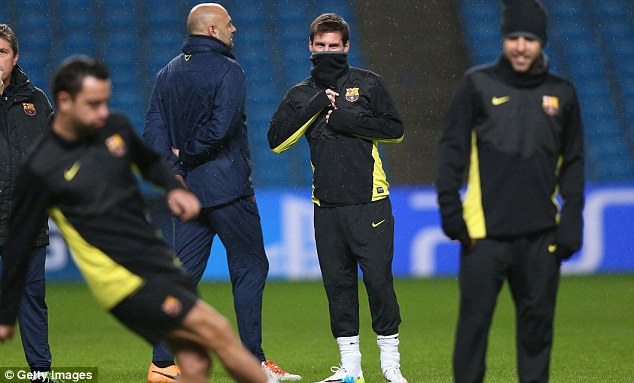 No hiding place: Messi makes his first appearance at the City of Manchester Stadium on Tuesday night and will be bidding to end his eight-game barren spell
