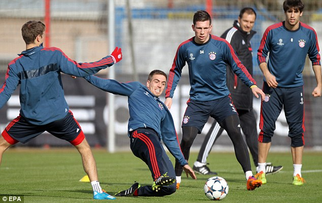 Final preparations: Bayern train in Munich ahead of their visit to London to take on Arsenal