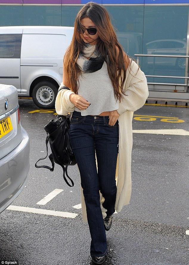 Slouchy: Selena's cardigan fell around her shoulders creating a boho feel