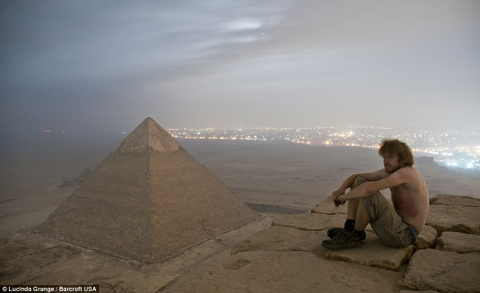 Ms Grange's friend Max sat on the top of the Great Pyramid of Giza