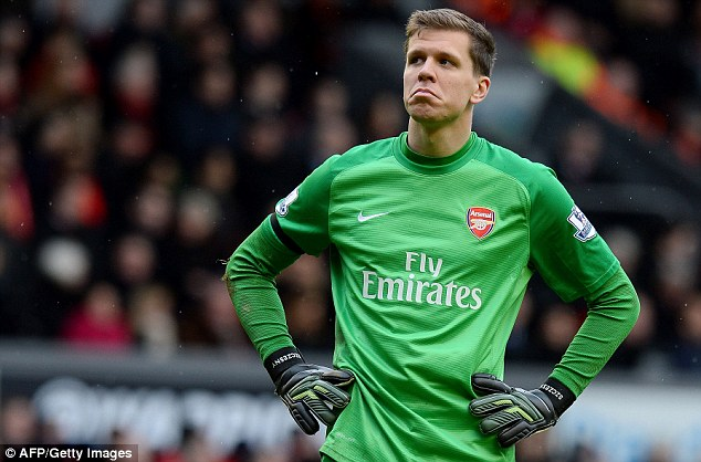 Pole position: Szczesny will start for Arsenal in their Champions League clash against Munich on Wednesday