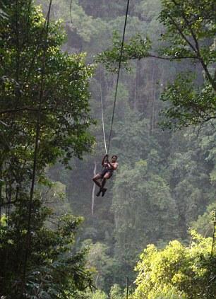 Guests at The Gibbon Experience Treehouse in Laos can only access their accommodation via a zip line