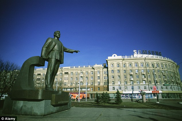 Cultured: The statue of Petrovsky sits on front of the main railway station in the Ukrainian city