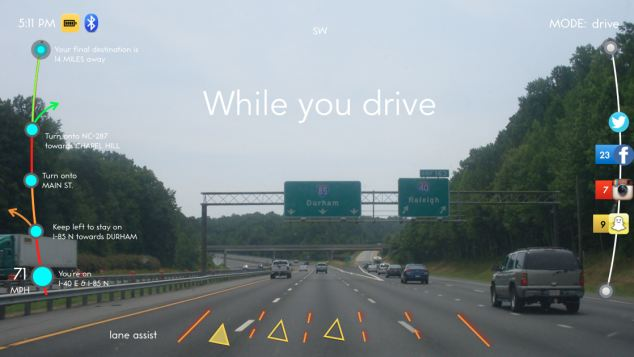 Driving mode shows satnav directions along with a smart lane assist