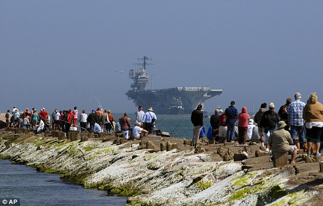 Right on time: It took the USS Forrestal 16 days to get from Philadelphia to Texas, where a crowd waited to greet the ship