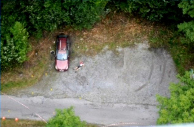 Murder: A crime scene image shows the al-Hilli family's maroon BMW with its windows shot out, and the body of French murder victim Sylvain Mollier lying next to it