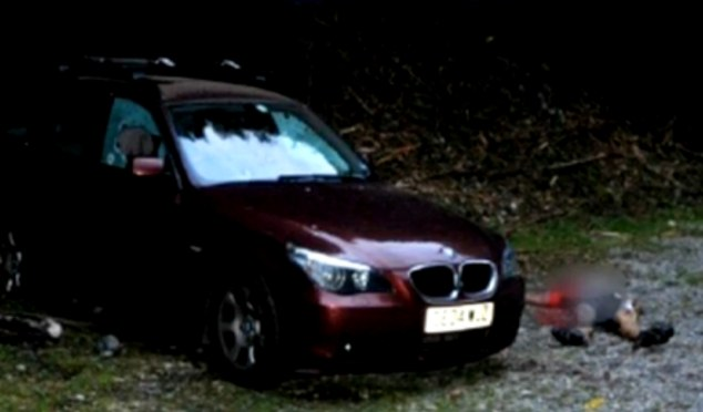Scene of the crime: A photograph taken by police show the al-Hillis' car with the body of French cyclist Sylvain Mollier lying on the ground next to it