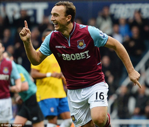 Hammered: Mark Noble celebrates scoring for West Ham in their 4-1 win over Southampton in October 2012