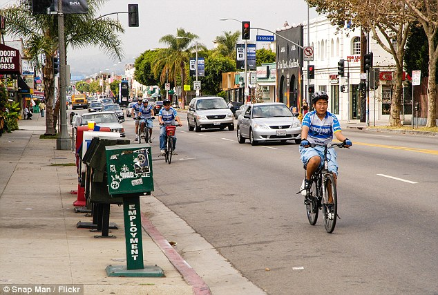 Keep your eyes on the road: The accident happened one morning while he was walking down Melrose Avenue in Los Angeles (pictured above)