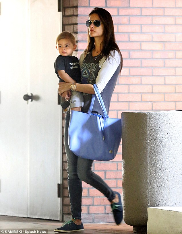 Learning time: Alessandra Ambrosio took son Noah to a baby class in Brentwood, California, on Tuesday