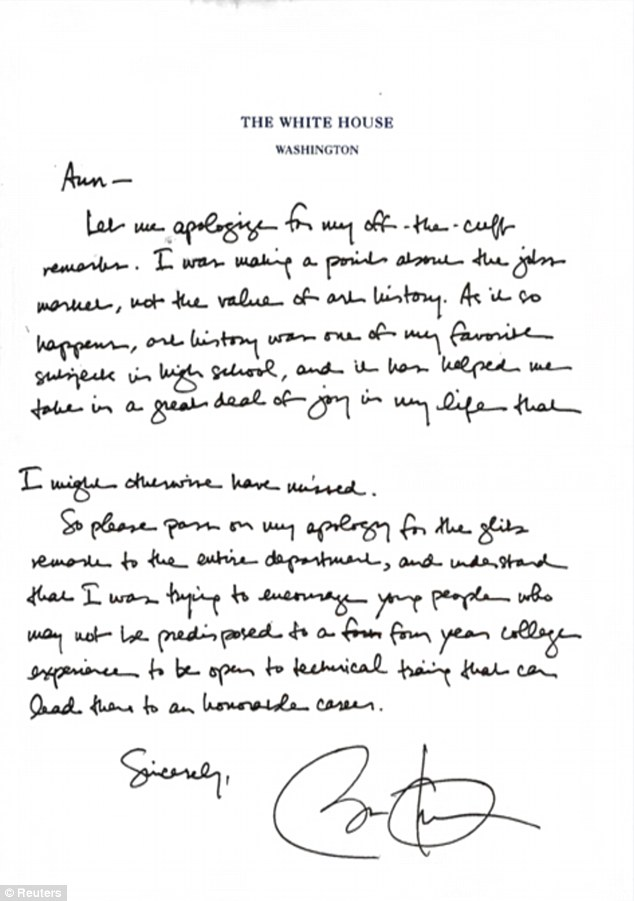 This is the handwritten apology President Obama sent to the University of Texas professor