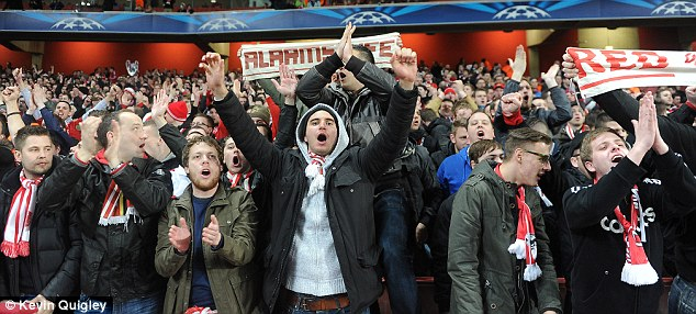 Making their voice heard: The Bayern supporters travelled in numbers and created a terrific atmosphere