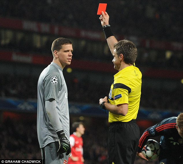 Got to go: Szczesny was sent off by referee Nicola Rizzoli for denying Robben a clear goalscoring chance
