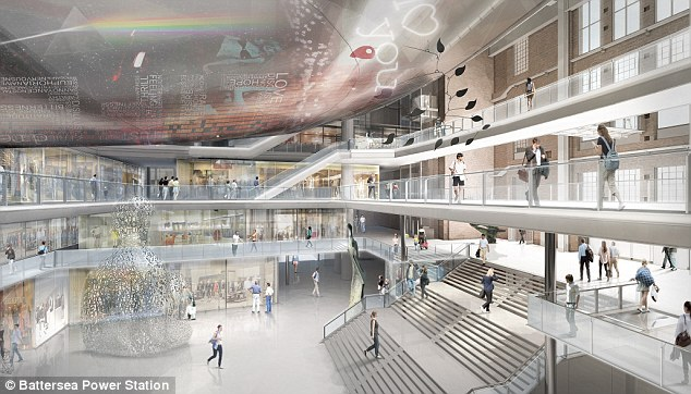 Redevelopment: The newly-modelled Power Station will feature 200 shops and restaurants a state-of-the-art performance venue, cinema, six-acre riverside park and a new Underground tube station, which will connect to the Northern line
