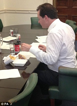 The Chancellor tweeted a picture of himself tucking into a takeaway meal from upmarket burger chain Byron while preparing his spending review in June