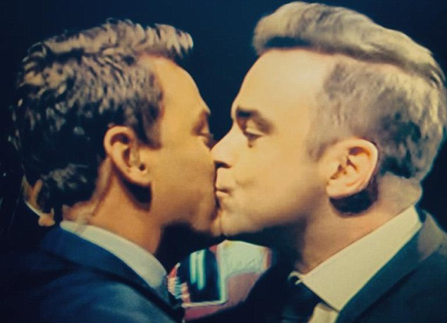 Competing for Robbie's affections! Today Show co-host Ben Fordham also received a kiss from the rock star