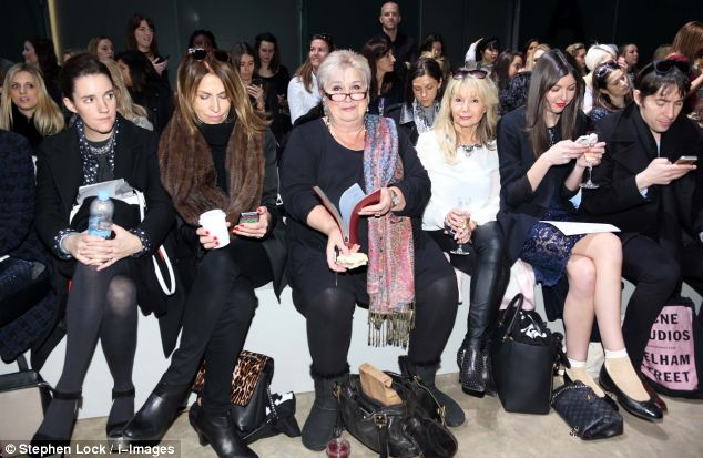 Front row fashionista: Jenni Murray sits in the front row at the Topshop Unique show  at London Fashion Week , preparing for even more fashion