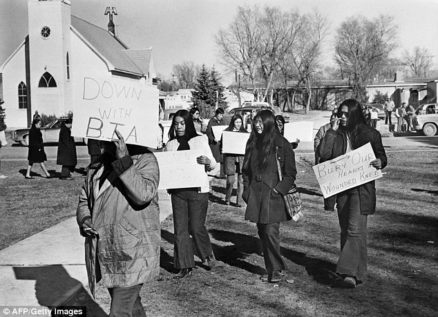 Similar cause: The father of three from Bogue Chitto, Alabama, traveled to South Dakota's Pine Ridge Indian Reservation, pictured in April 1973, to stand alongside Native Americans in their fight against social injustice