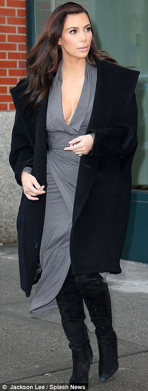 What cold weather? Kim, 33, has not let the freezing temperatures in New York hold back her wardrobe choices
