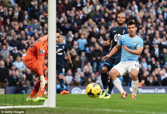 Hot shot! Aguero is Manchester City's leading scorer with 26 goals in 25 appearances