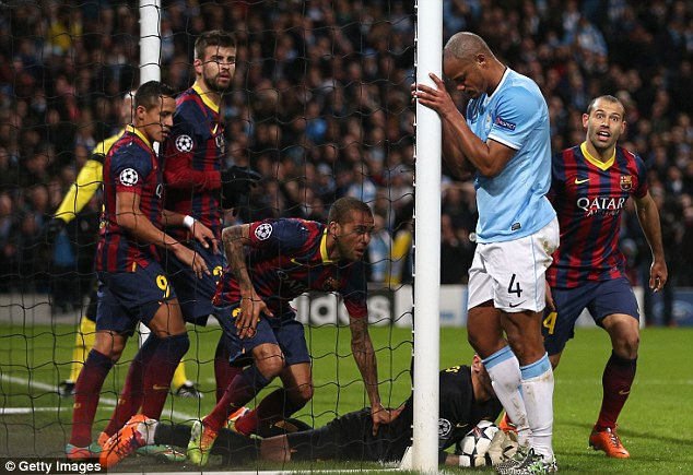 Euro flops: City were beaten 2-0 by Barcelona at the Etihad in Aguero's absence