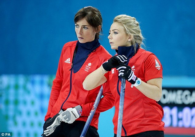 Anxious wait: Muirhead with team-mate Anna Sloan as they try to decide what shot to play