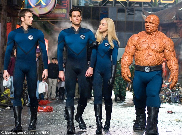 First Four: Chris Evans, Ioan Gruffudd, Jessica Alba and Michael Chiklis in Fantastic Four: Rise Of The Silver Surfer in 2006
