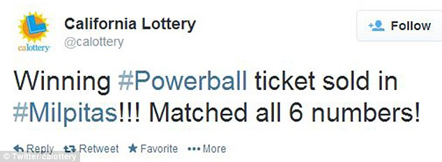 Winner, winner: A winning ticket has been issued in California for the $400million Powerball
