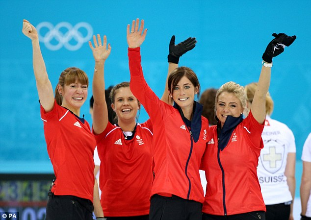 Celebrations: The GB team wave to their supporters after winning a bronze medal in Sochi