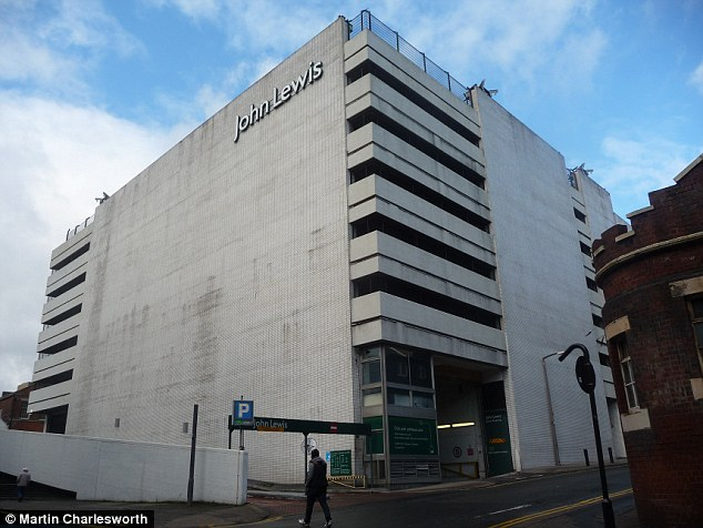 Scene: Mrs Turpin scaled a 7ft wall and fell from the top of Sheffield's John Lewis car park (file picture)