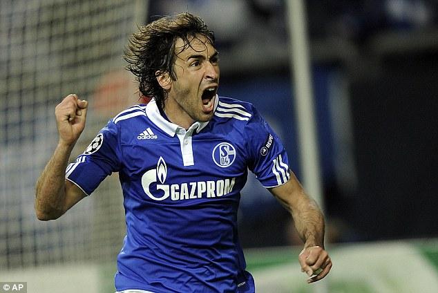 Celebration: Magath asked critics to speak to legendary striker Raul for praise of his training methods
