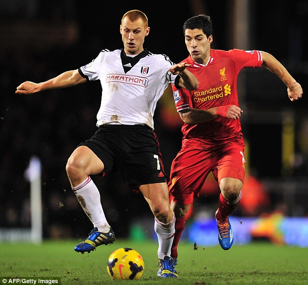 Looking up: Fulham midfielder Steve Sidwell (left) battles for the ball with Liverpool star Luis Suarez