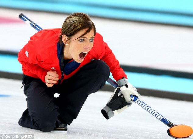 Face of a winner: Captain Eve Muirhead led her team to a 6-5 win against Switzerland today