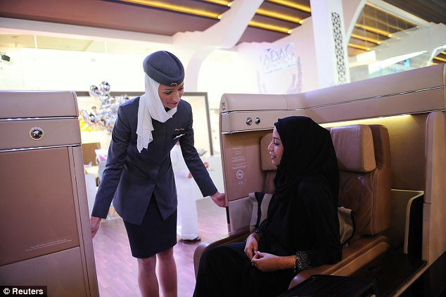 Distressing flight: Etihad cabin crew put the plane on lock down due to the fires and people were unable to leave their seats and no food was served for the last part of the journey. (Stock image)