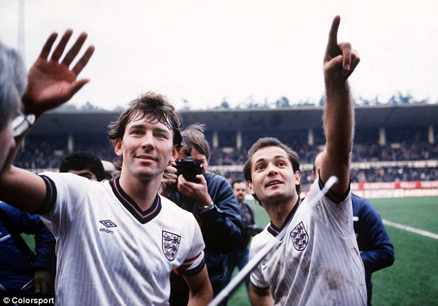 Good times: Wilkins and Bryan Robson celebrate England's 8-0 win over Turkey in 1984
