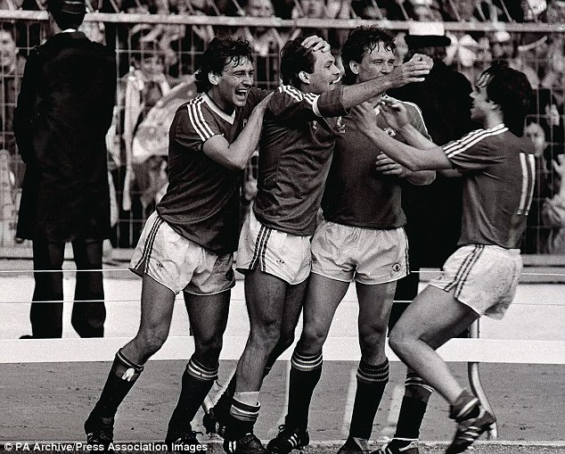 Cup of joy: Wilkins celebrates scoring for United in the 1983 FA Cup final against Brighton
