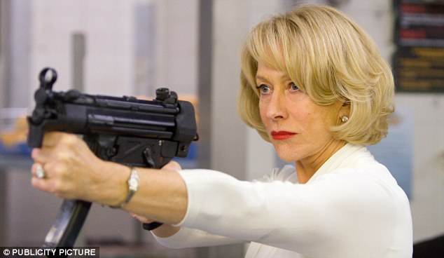 Helen Mirren as an assassin in the film RED, a role that she reprised in the sequel with the contractual agreement that the director not show her killing anyone